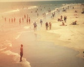 Beach Holiday2 . summer photography . Large art print . Beach photography . people . dreamy retro photograph . travel . Tybee Island Georgia