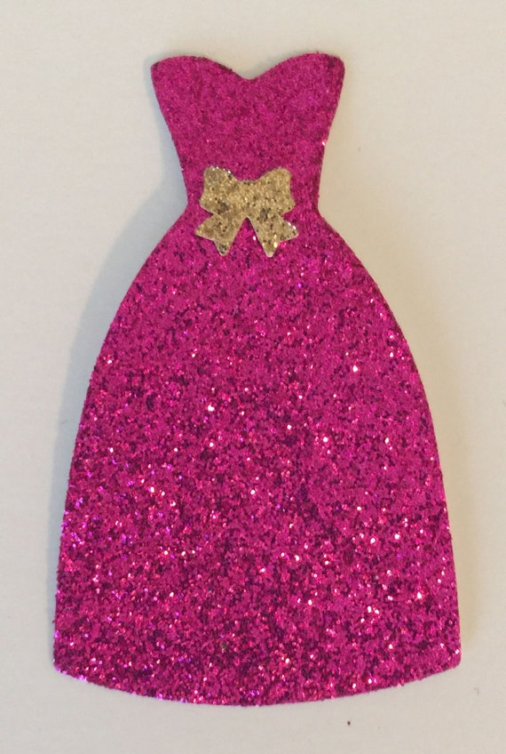 Dress Pink Glitter with Gold Bow Accent Die Cut Embellishment - Scrapbook Greeting Card Paper Art Craft Mixed Media ATC ACEO - Altered Attic