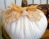 "Rustic Autumn PILLOW PUNKIN sweater pumpkin Prairie farmhouse soft ivory 7"" ecs rdt ofg svfteam"