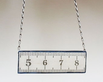 White Metric Ruler Oxidized Sterling Silver Necklace