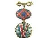 "Scottish Tartan Jewelry - Ancient Romance Series - Fraser Clan Tartan Bow Brooch with Victorian Initial ""V"" Fob Charm"