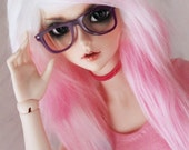 """SD BJD wig feeple 60 8.5"""" sized White to Pink Ombre long in front fake fur wig by MonstroDesigns Ready to Ship MDsw3621"""