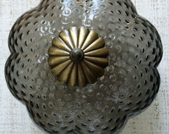 Vintage Ceiling Light Cover, Bubble Lamp, Smokey Glass, Smokey Grey, Crown Lamp, Ceiling Fixture, Ceiling Mount, Light Fixture, Globe Shade