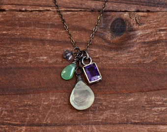 Green Prehnite Necklace - Purple Amethyst Bezel Necklace - Oxidized Sterling Silver Mixed Stone Pendant Necklace - Chrysoprase Necklace