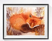 5 Animals in Paintings Watercolour art PRINT, Red fox painting nature art decor, Fox artwork orange painting, Fox small wall art nursery