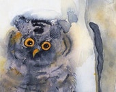 Owl art / Watercolor PRINT / Bird animal art / Great Horned owl painting / Nature art Woodland art Wildlife art / grey yellow Bird painting