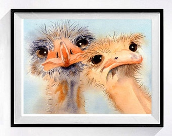 Ostrich Prints Bird Prints Watercolor Wildlife art Coral Nursery Laundry Room art Ostrich painting Humorus wall art decor Pink color field