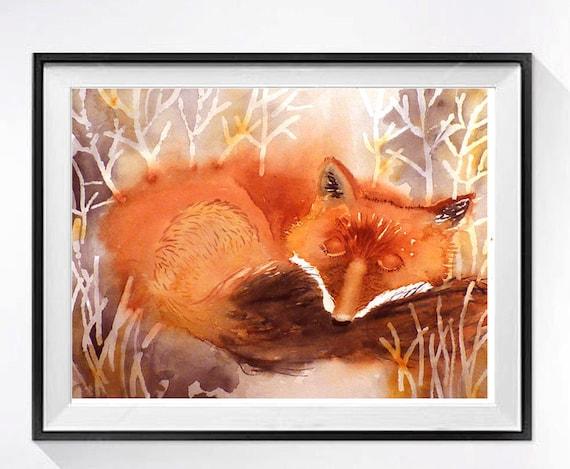 Fox Animals in art prints Watercolour art Print Red fox painting nature art decor Fox artwork orange painting Fox small wall art nursery 5