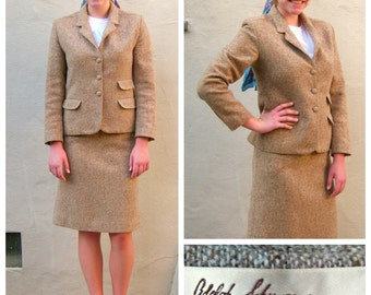 Vintage 70s Lilli Ann dress suit / Adolph Schuman / Tweed jacket and tweed skirt set / Lilli Ann designer suit/ womens xs-small