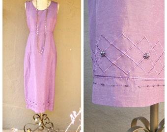 90s linen dress / SILK + LINEN beaded, lavender garden dress / long linen sleeveless sheath / medium large