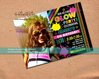 Glow Party Personalized Photo Invitation for Birthday or Baby Shower - Digital File Only