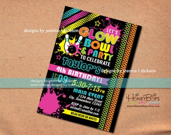 Glow Bowling Birthday Personalized Invitation- -  Digital File Only