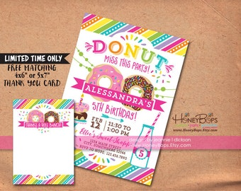 Donut Party Personalized Invite for Birthday or Baby Shower - Personalized Digital Only