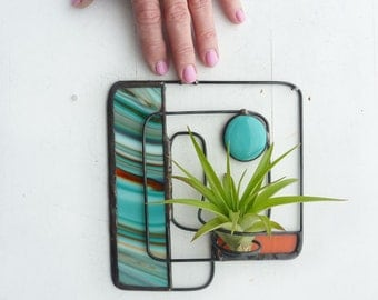 Wire Air Plant Holder- Abstract design with orange and turquoise stained glass and glass bead