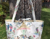 Fashion Diaper Tote made with Fun Animal Toile + Changing Pad