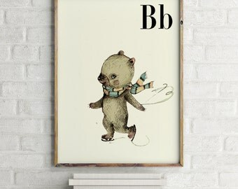 Bear print, nursery animal print, woodland nursery, alphabet letters, abc letters, alphabet print, animals prints for nursery