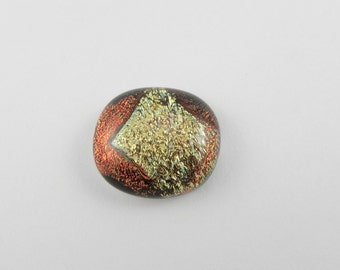 Dichroic Glass Cabochon - Burnt Orange/Golden Yellow - 15147