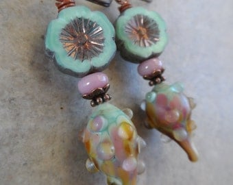 Minty Fresh ... Artisan-Made Lampwork, Czech Glass and Copper Wire-Wrapped Boho, Woodland, Floral, Pastel Earrings