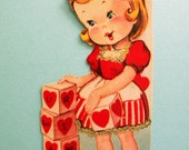 Vintage Unused Valentine's Day Card with Glitter Girl Playing with Blocks