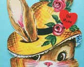 Vintage Valentine's Day Card Bunny in Straw Hat Anthropomorphic Rabbit