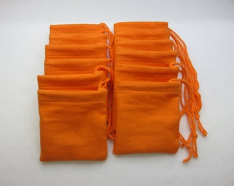 "Set of 12, 3"" x 3"" Orange Cotton Flannel Hoo Doo / Mojo Bags / Jewelry / Earring Pouches 3 x 3"