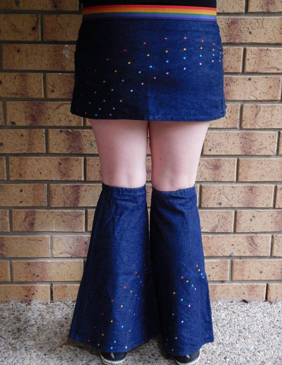 Denim Mini Skirt Rave Leg Warmers Leg Flares By StrikingKittens