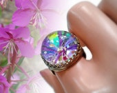 Woodland Fairy Glass Terrarium Ring Real Flower Statement Ring Gift for Her Glass Plant Jewelry Handmade in Alaska Fireweed Brass Jewelry