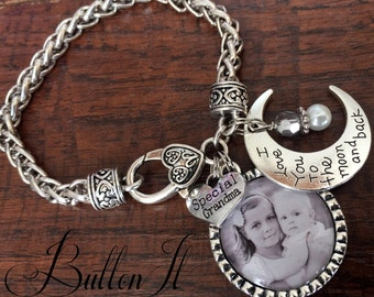 Gifts for Grandma, GRANDMA jewelry, Grandma bracelet, Mothers Day gift, PHOTO bracelet, Mom bracelet I love you to the moon and back, Sister