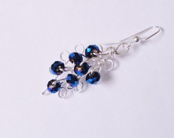 Wire Wrap Earrings , Shimmering  freeform Cobalt blue faceted Austrian Crystal , Customized  wire /bead  dangle earrings