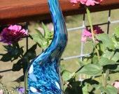 LISTING RESERVED For CHERYL Aqua Teal Glass Leaf Garden Art Sculpture Outdoor Decoration Garden Finial