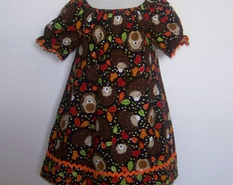 Girls Clothes Fall Dress Brown Print Hedgehogs Orange  Trim Peasant Style Infant Toddler Dresses Sz 12 mths to 8