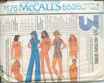 1977 McCalls 5535 Retro Mod Bathing Suits and Cover up Dress Sewing Pattern Vintage Size 8 Bikini Romper