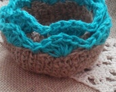 Nesting Bowls Jute Fiber Turquoise and Natural Crochet Set of 2 READY to SHIP