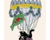 Black Cat Art -  My Beautiful Big Balloon  - 4 X 6 print
