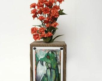 Proceeds Benefit Animal Rescue - Retablo Folk Art - Wooden Vase, Flower Sprig Vase, Herb Sprig Holder, Sacred Dove, Canvas Print, UpCycled