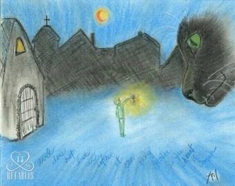 Retablo Folk Art - Black Cats, Village Silhouette, Harvest Moon In Sky, Vintage Lantern, Original Conte Crayon Illustration
