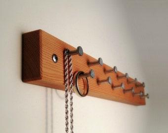 Jewelry Organizer Wall, Jewelry Organizer Wood, Reclaimed Wood with Metal Hooks, Hardware Included