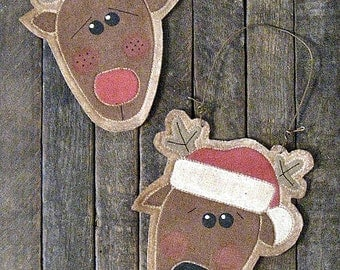 Reindeer Ornaments EPATTERN...primitive country christmas holiday ornament digital download sewing pattern...PDF...1.99