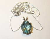 Teal Fluorite Pendant in Solid Sterling Silver - All-Natural Genuine Gemstone