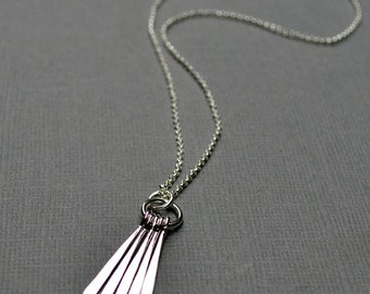 Stick Necklace, Sterling Silver, Bar Necklace, Fringe Necklace, Boho Jewelry, Minimalist, Modern Layering Necklace, Hammered Sticks, Simple