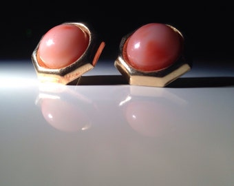 14 KT Gold and Angel Skin Coral Cabochon Earrings - Wife Gift