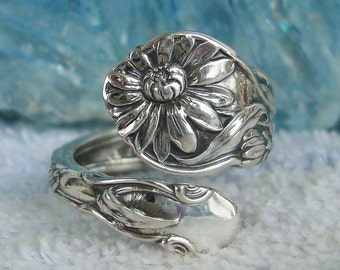 Sunflower   Gorham Vintage Sterling Silver Spoon Ring   dmfsparkles