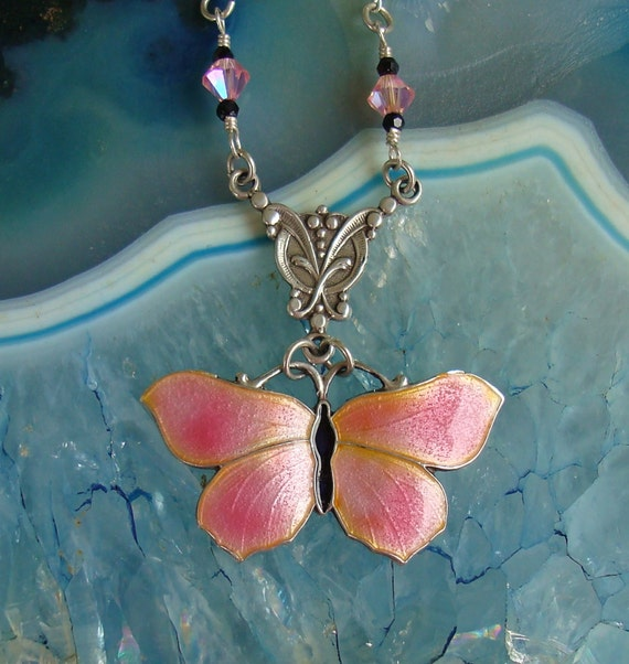 Vintage Art Nouveau Signed JA&S John Atkins 1915 to 1920 Numbered 1086 Enamel Butterfly Sterling Silver Necklace