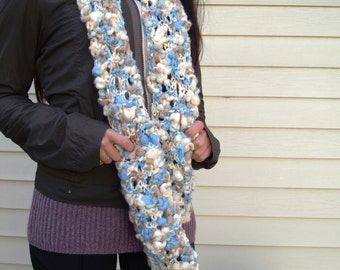 Soft and Cozy Long Scarf Handknit Blue Tan White Open Stitch Lace Design Can be Converted to Infinity or Eternity Scarf Hand Knit Scarf
