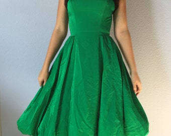 Vintage 1950s Party Dress -Mitzi Morgan - Kelly Green with Real Fur Trim