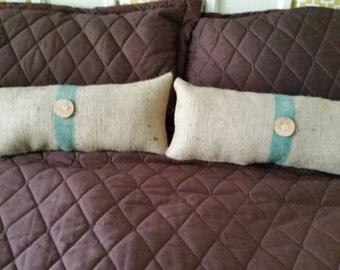 Be Thankful Handpainted Burlap Pillow With Chevron Trim