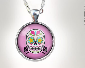 Sugar Skull PNK : Glass Dome Necklace gift present by HomeStudio. Round art photo pendant jewelry. Available as Key Ring Keychain