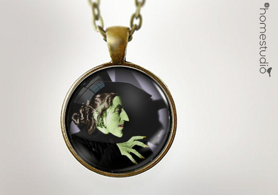 Wicked Witch : Glass Dome Necklace gift present by HomeStudio. Round art photo pendant jewelry. Available as Key Ring Keychain