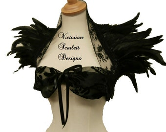 Victorian Gothic Black Lace Shrug Feather Ornament Vampire Queen Collar Glamour Accessory Burning Man Handmade by Victorian Scarlett Designs