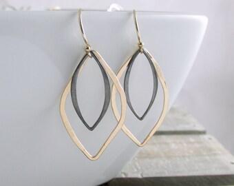 Elegant Marquise Earrings Gold And Black Earrings Geometric Earrings Modern Jewelry Gold Drop Earrings Dangle Earrings Gift For Her